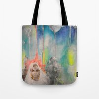 india Tote Bags featuring INDIA by Kath Korth