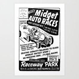 Midget Auto Races, Race poster, vintage poster, bw Art Print