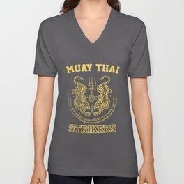 Muay Thai Kickboxing Fighter Tigers Unisex V-Neck