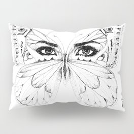 woman butterfly  black and white Pillow Sham