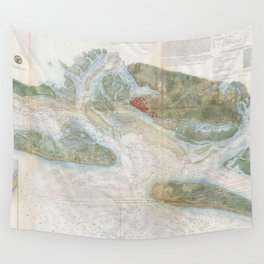 Vintage Map of Beaufort Harbor SC (1857) Wall Tapestry