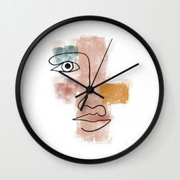 Line art face with colour blocks Wall Clock