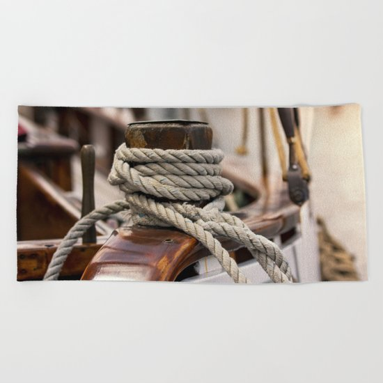 linen rope from the old ship Beach Towel