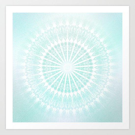 Turquoise Glittering Mandala Art Print