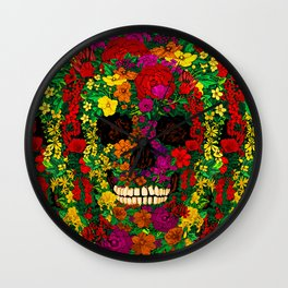 Rainbow Flower Skull iPhone 4 4s 5 5s 5c, ipod, ipad, pillow case and tshirt Wall Clock