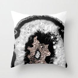 Gray Black White Agate Glitter Glamor #5 #gem #decor #art #society6 Throw Pillow