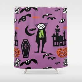 Cute Dracula and friends purple #halloween Shower Curtain