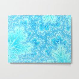 Abstract Christmas Aqua Blue Branches. Cute nature pattern Metal Print