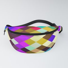 geometric square pixel pattern abstract in purple pink yellow blue brown Fanny Pack