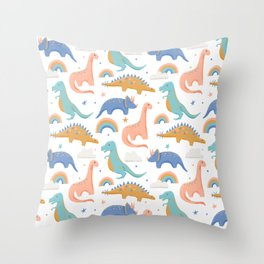 Dinosaurs + Rainbows in Blush Pink + Gold + Blue Throw Pillow