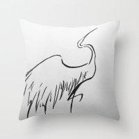 crane Throw Pillows featuring Crane by Katy Lawler