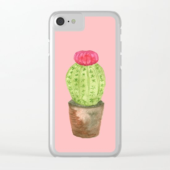 Three Cacti watercolor pink Clear iPhone Case
