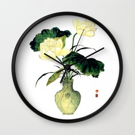 An elegant lotus in a celadon porcelain vase of Chinese ink painting Wall Clock