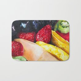 Colorful Plate of Healthy Fruit in Colored Pencil Bath Mat