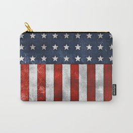 American Flag Stars and Stripes Distressed Grunge 4th. July Carry-All Pouch