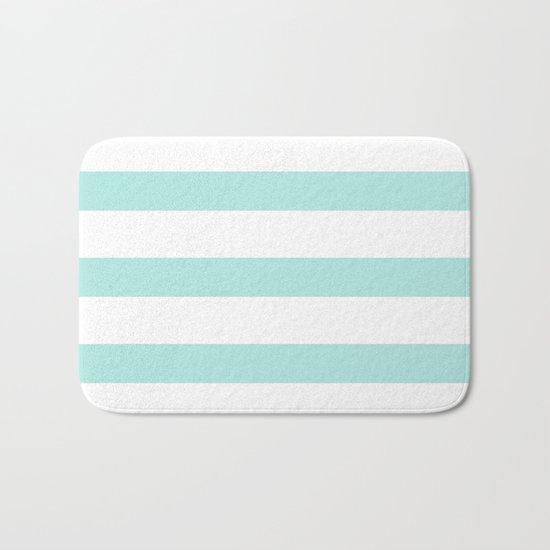 Aqua blue and White stripes lines - horizontal on #Society6 Bath Mat