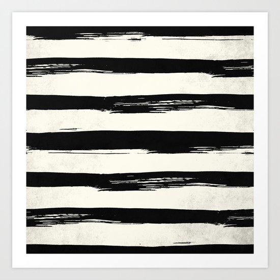 Tribal Paint Stripes Black and Cream Art Print