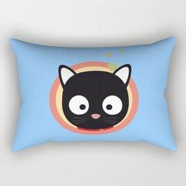 Black Cute Cat With Hearts Rectangular Pillow