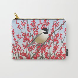 Chickadee and Red Berries Carry-All Pouch