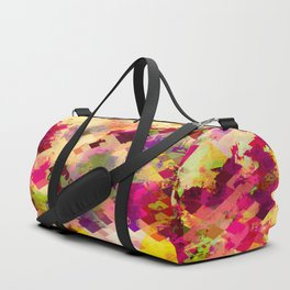 geometric square pixel pattern abstract in pink yellow purple Duffle Bag
