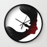 edgar allen poe Wall Clocks featuring Edgar Allen Poe and the Raven by The Herald Project