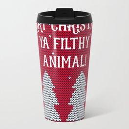 Merry Christmas ya filthy animal - red Travel Mug