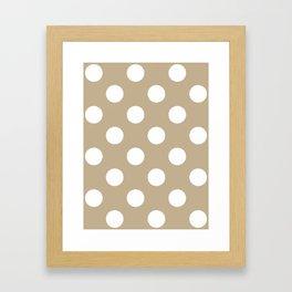 Large Polka Dots - White on Khaki Brown Framed Art Print