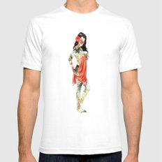 Floral Pin Up Girl White SMALL Mens Fitted Tee