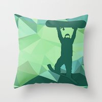 snowboard Throw Pillows featuring Snowboard by B Remembered Designs