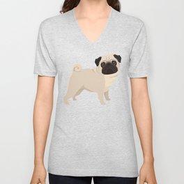 Pug on Terra Unisex V-Neck