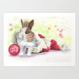 Christmas Bunny Art Print