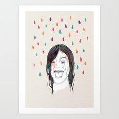 Les filles rient sous la pluie Art Print