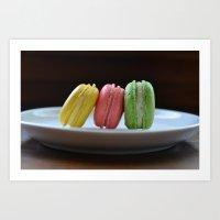 macaroon Art Prints featuring macaroon  by Allie Peplin