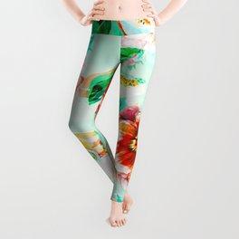 Tropical flowery fruit glitch Leggings