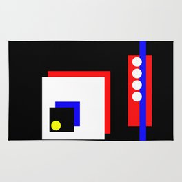 Traffic Jam - Abstract, minimalist, geometric, artwork in primary colours and black and white Rug