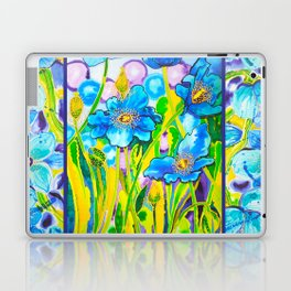 Blue Poppies 2 with Border Laptop & iPad Skin