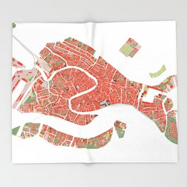 Venice city map classic Throw Blanket