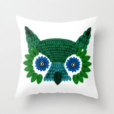So Many Leaves = 1 Owl (Green) Throw Pillow