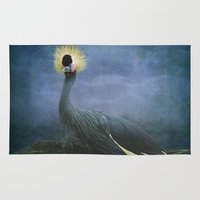 crane Area & Throw Rugs featuring Crowned Crane by TaLins
