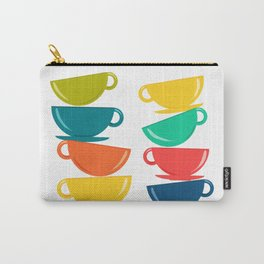 A Teetering Tower Of Colorful Tea Cups Carry-All Pouch