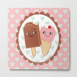 Ice creams in love Metal Print
