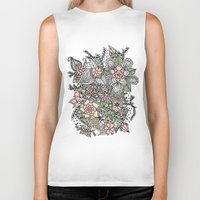 preppy Biker Tanks featuring Modern green pink floral handdrawn pattern by Girly Trend