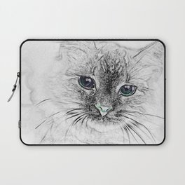Siberian Kitty Cat Laying on the Marble Slab Laptop Sleeve