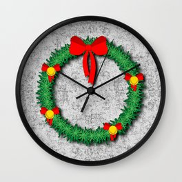 Christmas Wreath on textured background Wall Clock