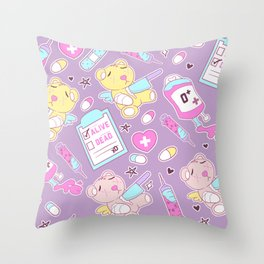 Yami Kawaii Creepy Cute Bears on Purple Throw Pillow
