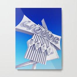 Liquor Deli Vintage Retro Neon Sign Blue Metal Print