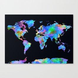 world map watercolor black Canvas Print
