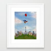 guinea pig Framed Art Prints featuring Guinea Pig Over Paris by When Guinea Pigs Fly