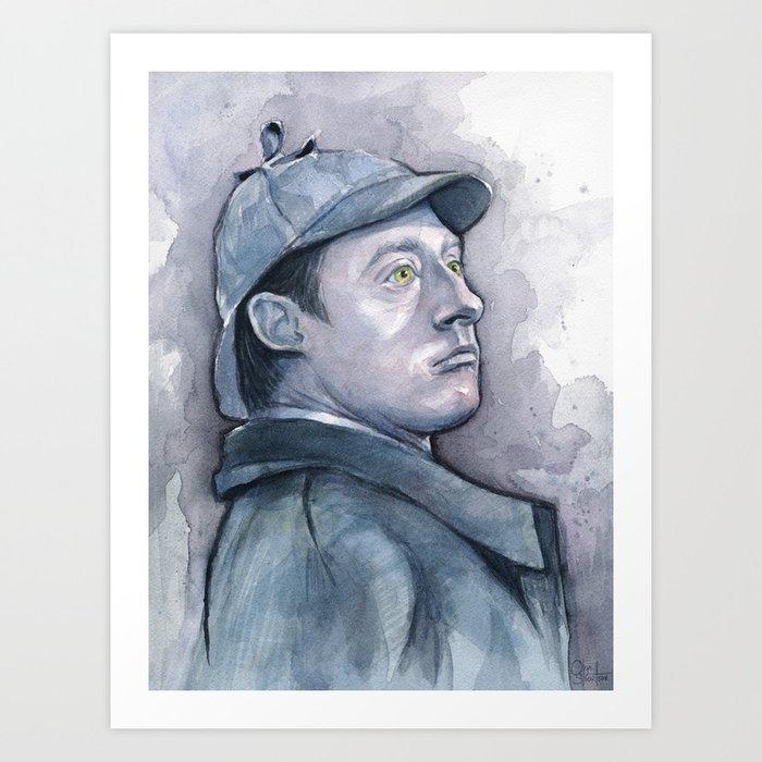 Data as Sherlock Holmes Watercolor TNG Portrait Art Print