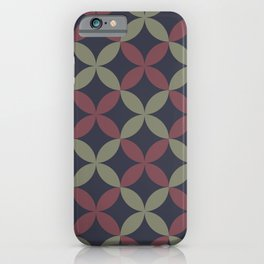 Blue Green Red Flower Pattern Accent Shades To Pantone 2021 Color of the Years iPhone Case